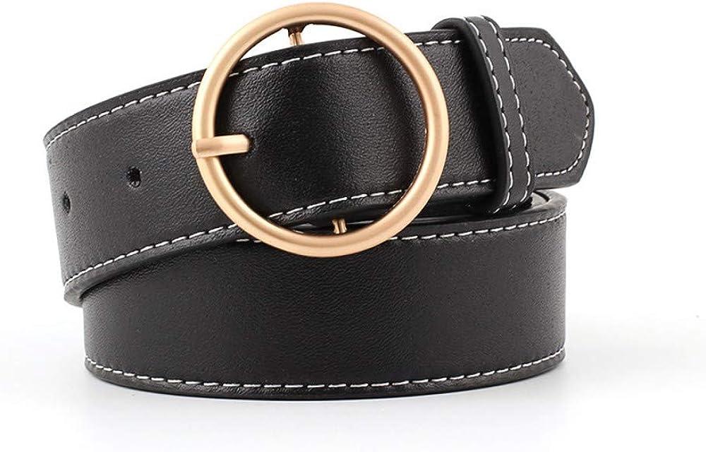 GWJWMZ 100X3.3 Cm Cinturones De Las Mujeres Diseño De Moda De Oro Metal Hebilla Redonda Negro Correa De Plata Correa De Cintura Para Las Mujeres Jeans Cintos