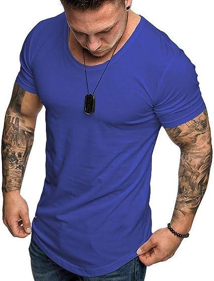 Camisetas Hombre Manga Corta SHOBDW 2020 Blusas Color Sólido ...