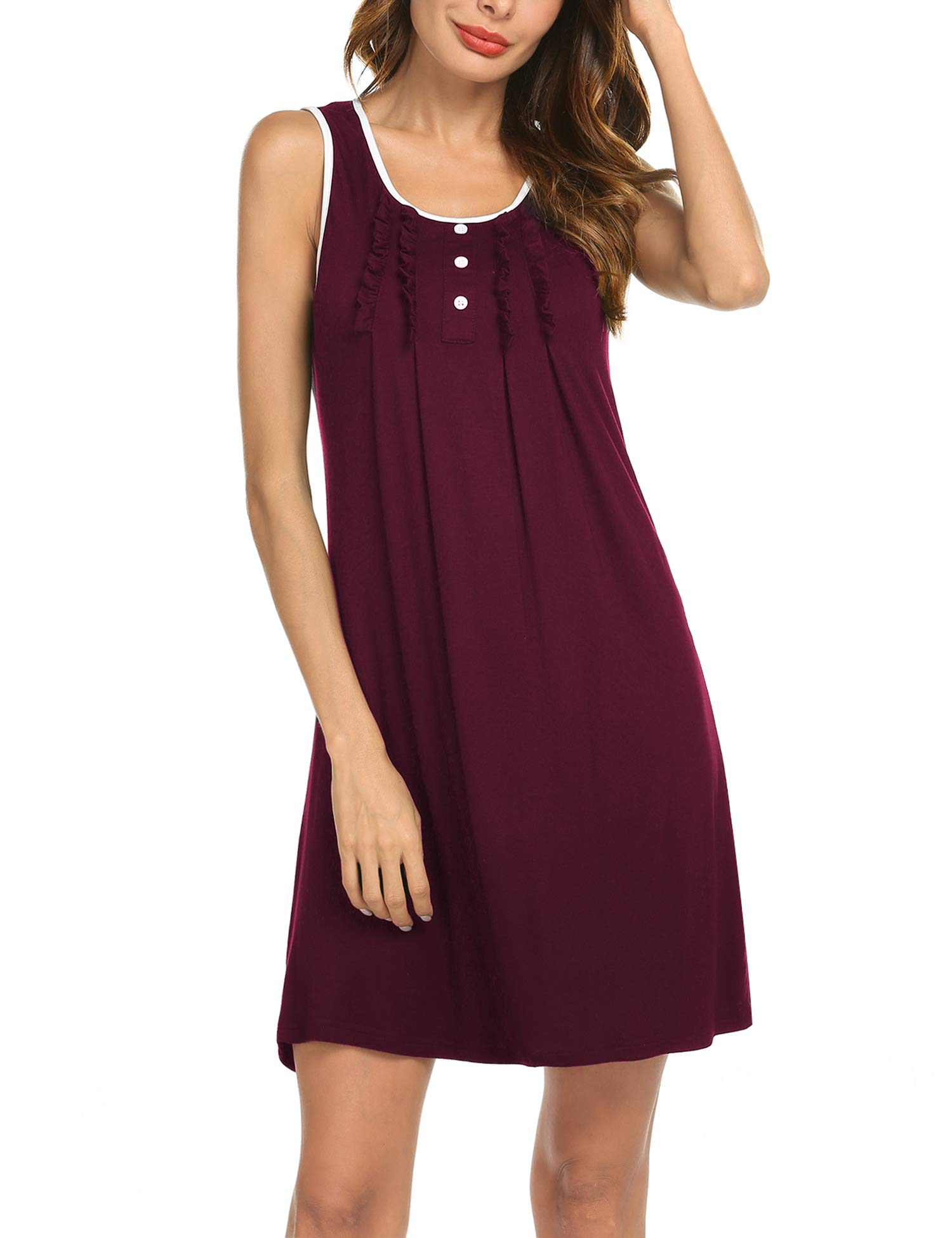 Hotouch Sleeveless Night Dress Women's Cotton Comfy Sleep Dress Loungewear Wine Red M