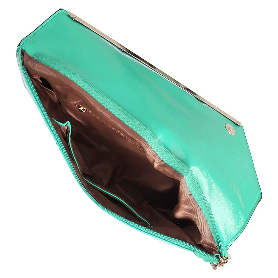 BMC Fashionably Chic Turquoise Faux Leather Gold Metal Accent Envelope Style Statement Clutch by b.m.c (Image #7)