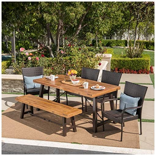 Garden and Outdoor Christopher Knight Home Salla Outdoor Acacia Wood Dining Set with Wicker Stacking Chairs, 6-Pcs Set, Teak Finish… patio dining sets
