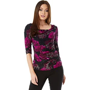 112218a56e77f Roman Originals Womens Sequin Cowl Neck 3 4 Length Sleeves Floral Top -  Ladies Jersey