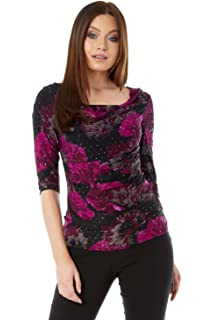 e11dcc23f109 Roman Originals Womens Sequin Cowl Neck 3 4 Length Sleeves Floral Top -  Ladies Jersey Stretch…