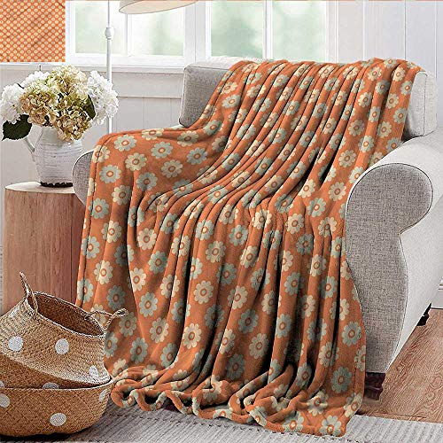 Xaviera Doherty Camping Blanket Garden,Shabby Colored Daisies Lightweight Breathable Flannel Fabric,Machine Washable 50