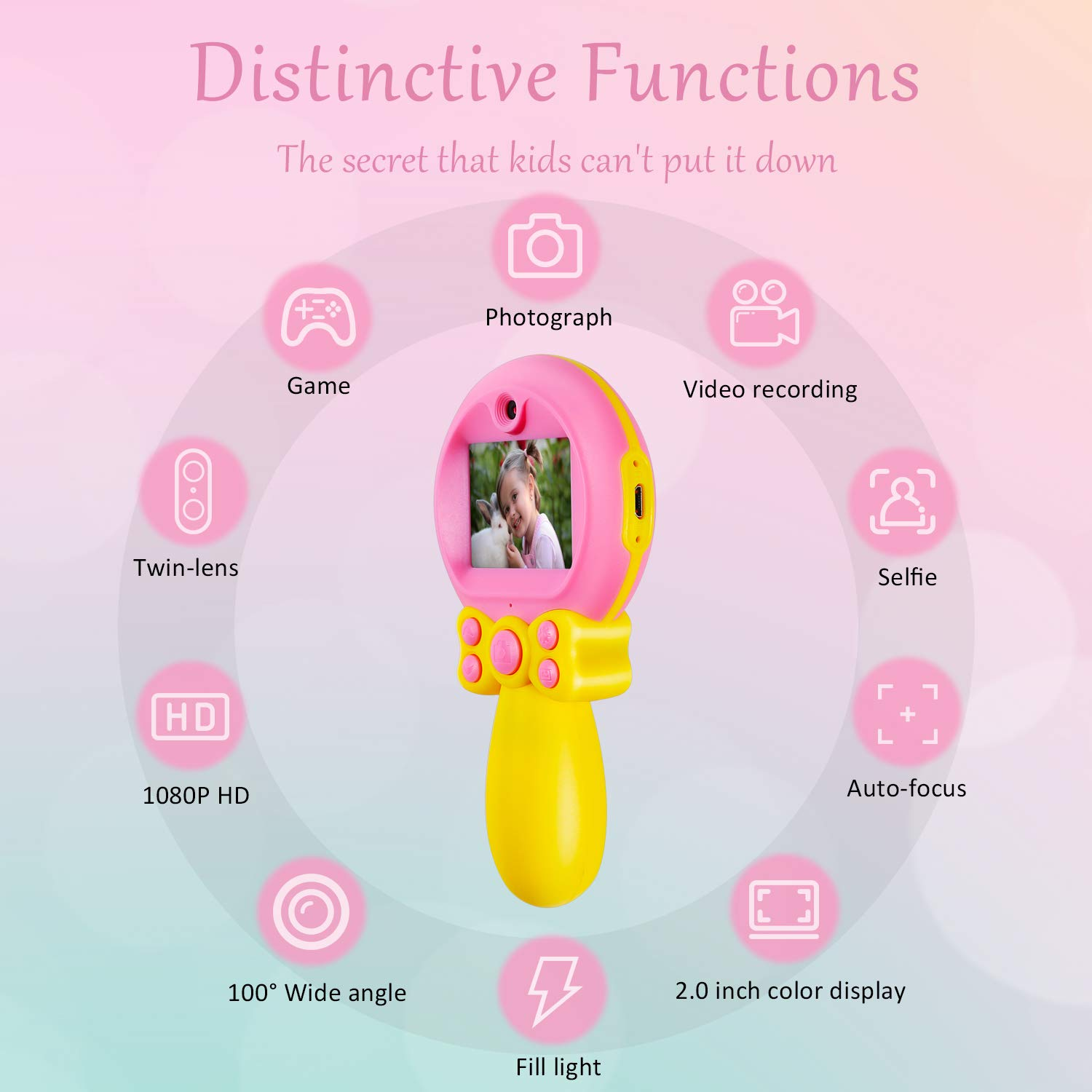 Camera for Kids Camera Toys for Girls Toys Camera for 3-8 Year Old Children's Self-timer HD Digital Video Camera 2-Inch Screen Camera Magic Wand Toy Camera MiniKids Girls Boys Birthday Gift Toys by GUANLV (Image #3)