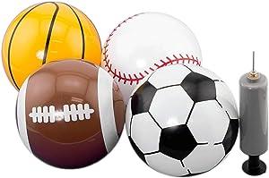 "Adorox Pack of 4, 5"" Sports Balls with 1 Pump (Soccer Ball, Basketball, Baseball, and Football)"