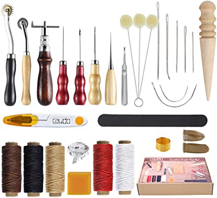 Caydo 20 Pieces Leather Sewing Tools with Hand Sewing Needles Waxed Thread 4 mm Leather Prong Punch Awl and Thimble for Leather Canvas DIY Sewing and Leather Repair