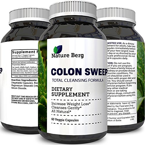 Colon Detox Cleanse Supplement Potent & Pure - Best Formula to Detoxify Weight Loss Clear Digestive System Metabolism Booster Increase Energy Immune System All Natural For Men & Women by Nature Berg
