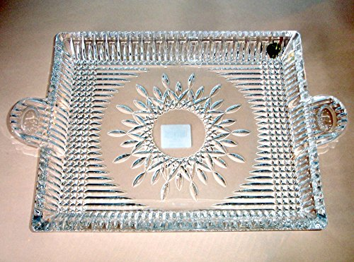 (Waterford Lismore Diamond Square Handled Serving Tray Crystal New in Box)