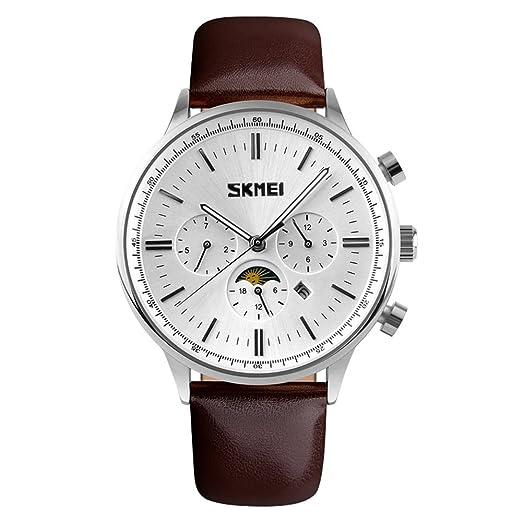 vendimia de vestir de cuero fase lunar reloj especiales tres sub diales multifuncionales reloj de los hombres de línea blanca: Amazon.es: Relojes