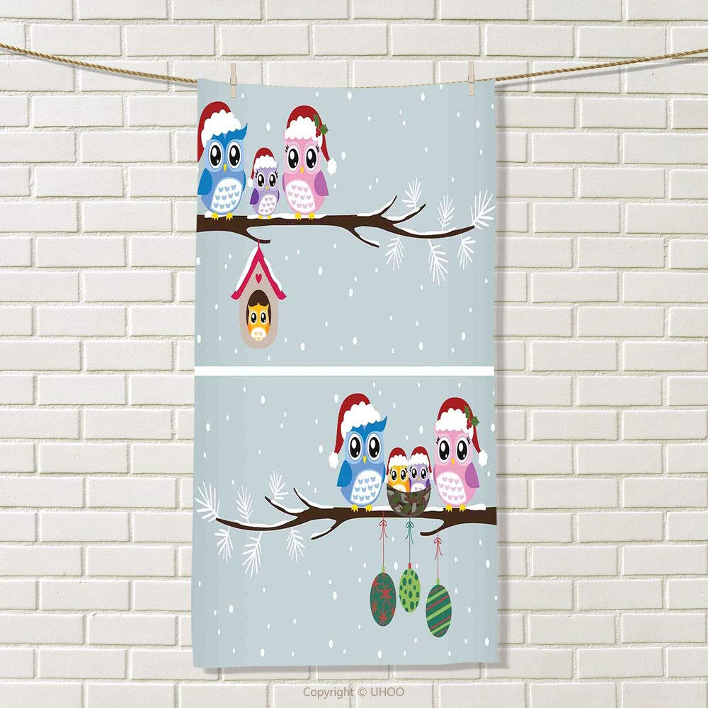"""smallbeefly Christmas Travel Towel Owl Family with Santa Hats on Tree Branch with Babies in Nest Birds Snowy Winter Print Quick-Dry Towels Grey Size: W 27.5"""" x L 34"""""""