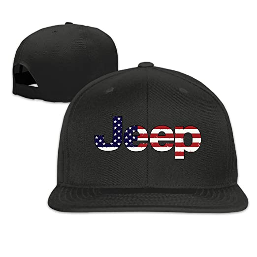 0d6a1894 Amazon.com: Unisex Jeep (3) Flat Bill Plain Snapback Hats Caps Black ...