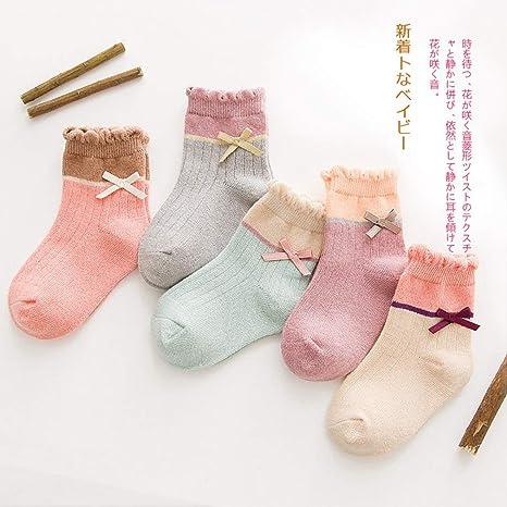 TraveT 5 Pairs Cute Toddler Newborn Bowknot Socks Lovely Soft Elastic Ankle Socks for Baby Girls Boys,M
