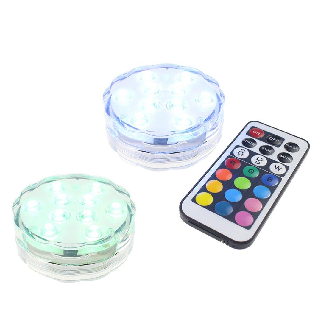 ZXK Sumergible Luces LED Funciona con Pilas Luces LED Accent wiith Mando a Distancia por Infrarrojos para Boda Centro de Mesa Fiesta de Halloween Luces de ...