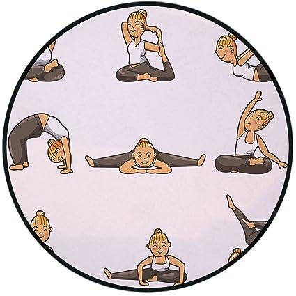 Amazon.com: Printing Round Rug, Yoga, Cartoon Yoga Young ...