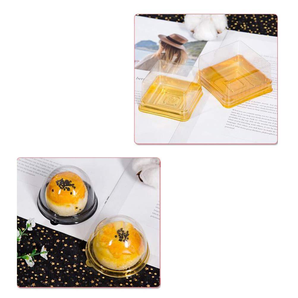 Huevo Oro-Yolk Puff Caja de Embalaje para Pasteler/ía Queso Pastel Postre BESTONZON 50 piezas Luna Cake Cajas Cuadradas Hornear Pl/ástico Oro