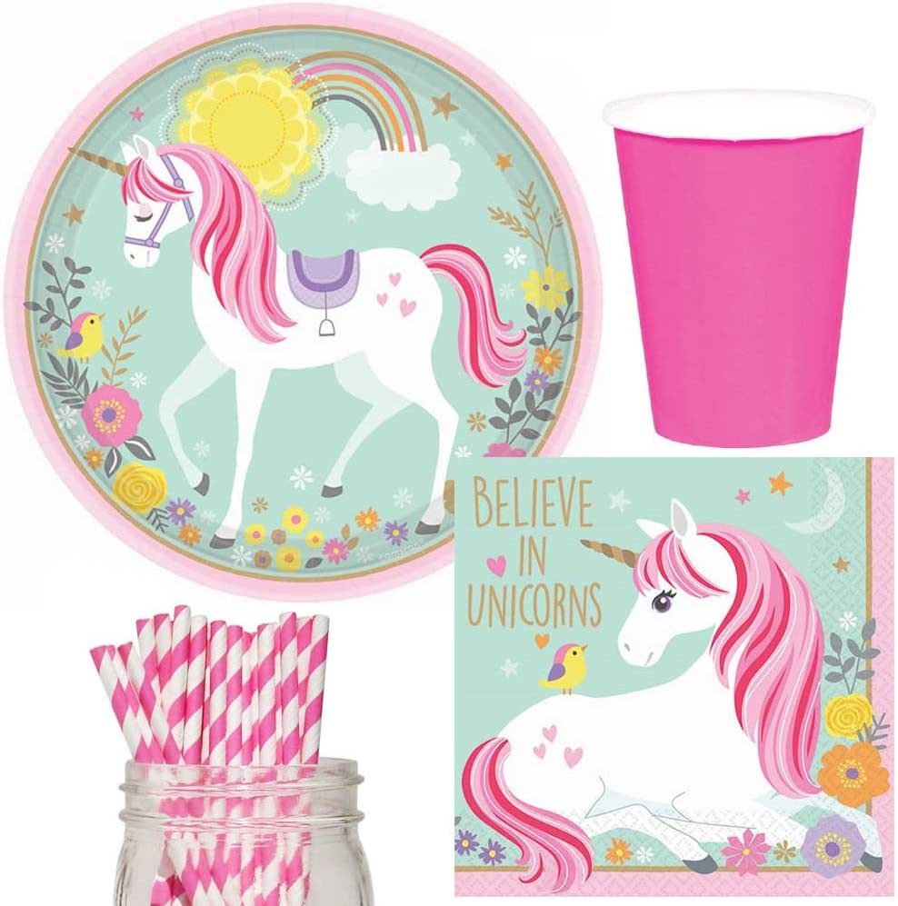 48 Guests Tableware Plates Napkins MAGICAL UNICORN Party Girls COMPLETE KITS 8
