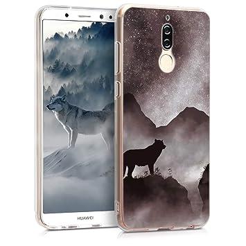 kwmobile Funda Compatible con Huawei Mate 10 Lite - Carcasa de [TPU] y diseño de Lobo en [Negro/Blanco/Negro]