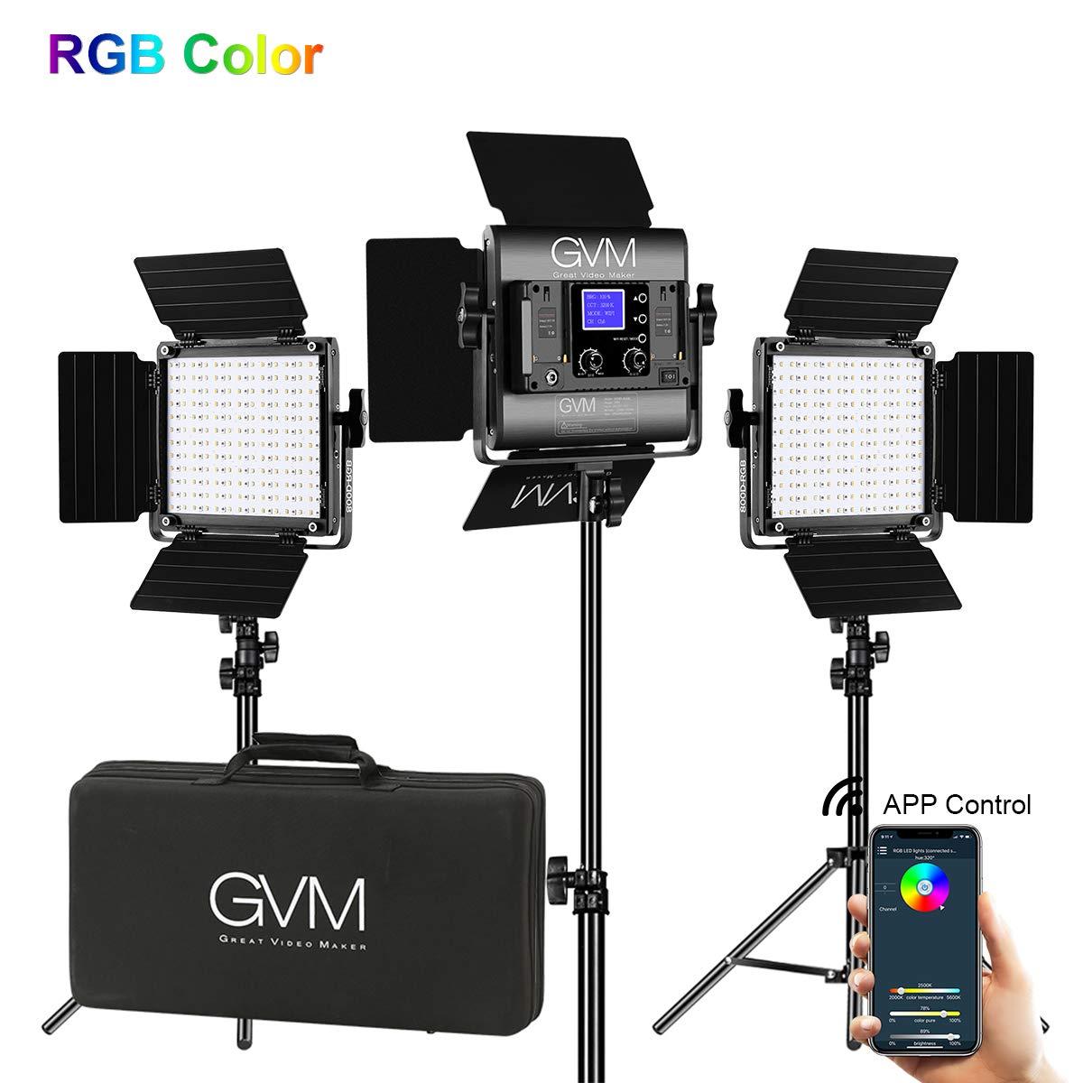 GVM RGB LED Video Lighting Kit, 800D Studio Video Lights with APP Control, Video Lighting Kit for YouTube Photography Lighting, 3 Packs Led Light Panel, 3200K-5600K by GVM Great Video Maker