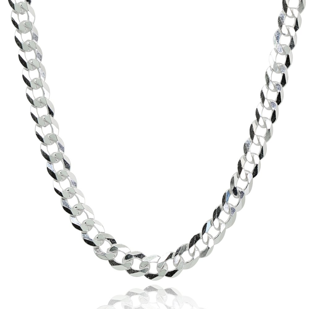 Sterling Silver Italian 5mm Diamond-Cut Cuban Curb Link Chain Necklace, 24 Inches