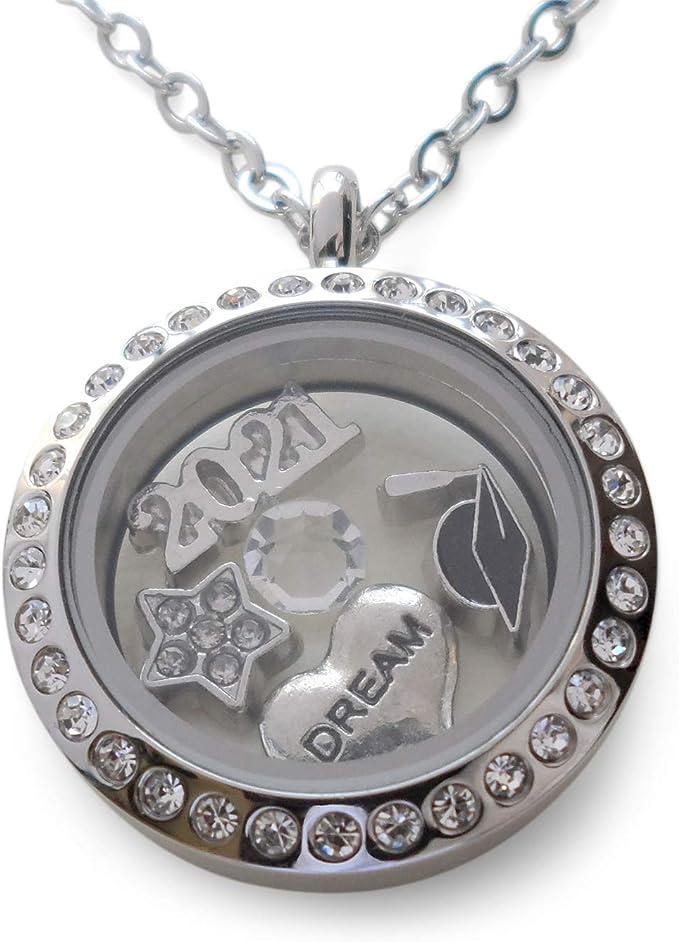 Congratulations Heart Birthstone Charm Necklace Gift New Job Achievement Friend Jewelry Long Distance College School Graduation