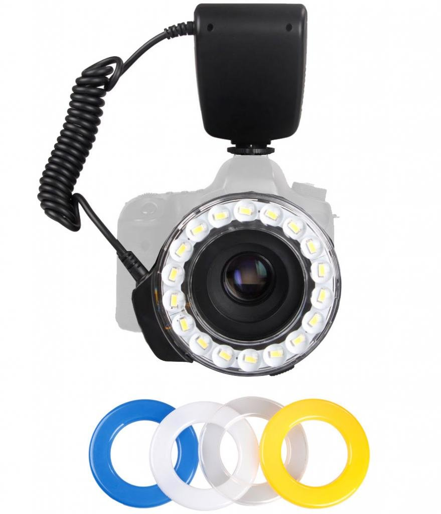 Polaroid 18 Super Bright Macro SMD LED Ring Flash & Light Includes 4 Diffusers (Clear, Warming, Blue, White) For The Canon, Nikon, Panasonic, Olympus, Pentax SLR Cameras (Will Fit 49,52,55,58,62,67,72,77mm Lenses) by Polaroid