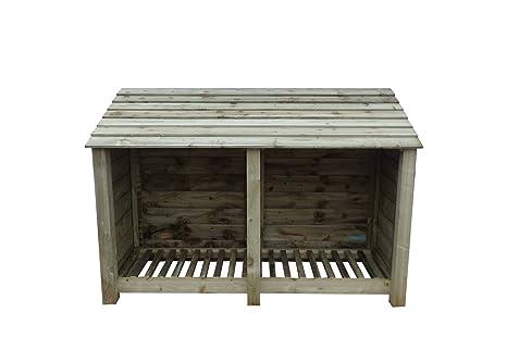 4 ft Heavy Duty tratada a presión de fresno Log Store – Caseta para leña y