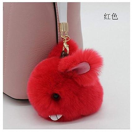 a61f26eff4 Amazon.com  Womens Cute Fluffy Keychain Pendant Rabbit Fur Pompoms Key  Chain Fur Pom Pom Keychain Bag Charm Car Pendant Key Ring red  Office  Products