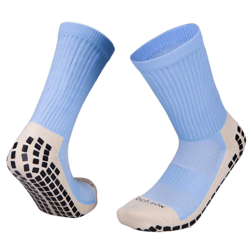 Grip Sox Anti Slip Football Socks Low Calf Non Slip Cushion Crew Sports Grip Socks with Gripping Rubber Pads for Football Soccer Running Colour to fit UK size 5.5 to 11 Walking Basketball