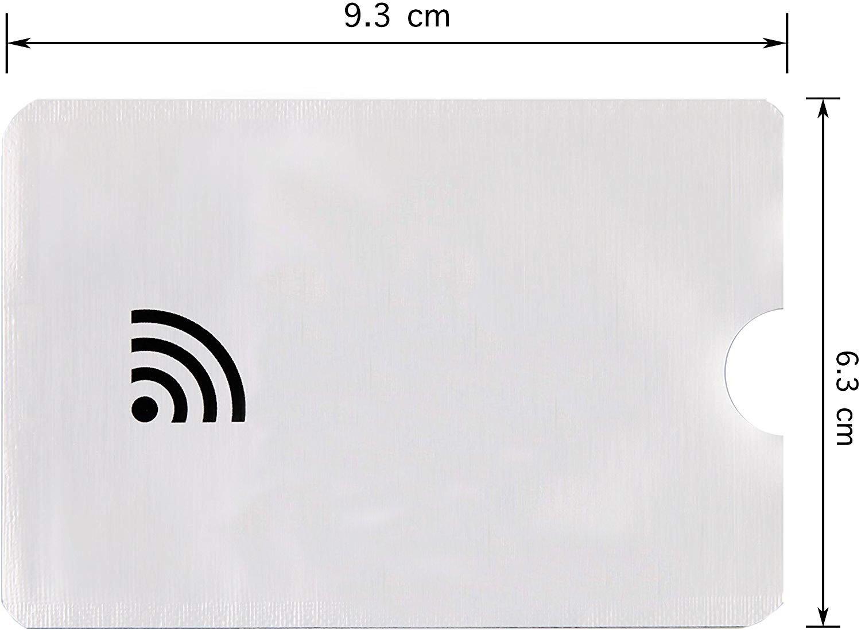 1d13ce7cb81239 Custodia Carte Contactless Porta Carte di Credito Schermato Set da 10  Custodie per La Protezione Isolamento Chip RFID e Radio NFC - Alluminio:  Amazon.it: ...