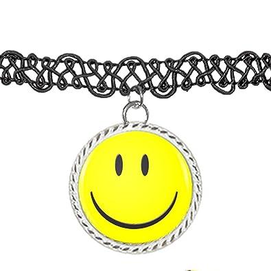 Happy Smiley Face Peace Love Símbolo collar de gargantilla de colgante encanto: Amazon.es: Joyería