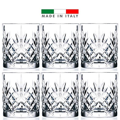 6-Piece Italian Crystal Whiskey Glass Set, 10 oz Crafted Double Old Fashioned Heavy Base Rocks Glasses for Scotch/ Bourbon with Thundering Cut Design by Strabiliante Cristallo Collection
