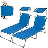 TecTake 2x Chaise longue bain de soleil en aluminium pliable avec parasol pare soleil bleu