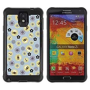 LASTONE PHONE CASE / Suave Silicona Caso Carcasa de Caucho Funda para Samsung Note 3 / Bee Flowers Pattern Yellow