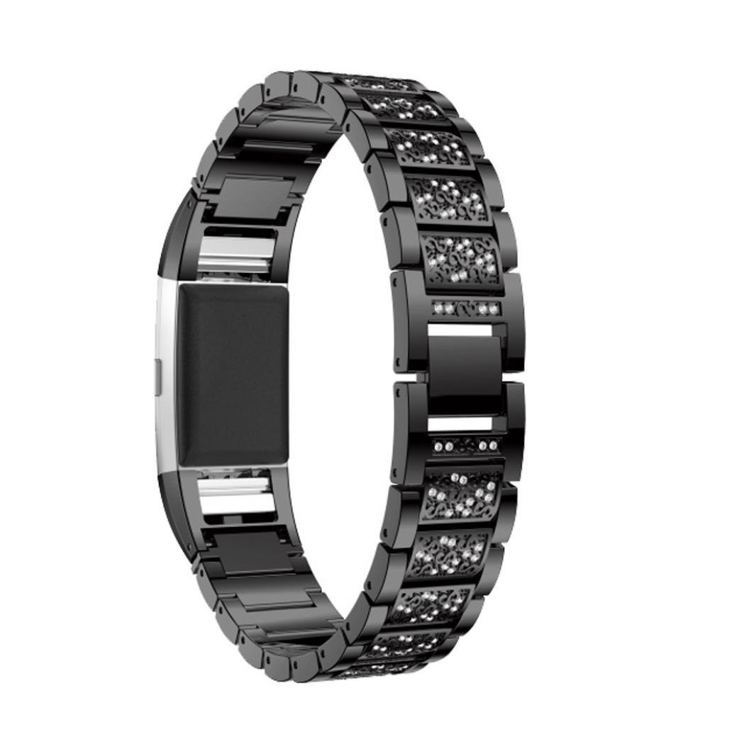 inverlee Fitbit Charge 2時計バンド、高級ステンレススチールメタルリストバンドストラップバンドfor Fitbit Charge 2  ブラック B0796KXZV5