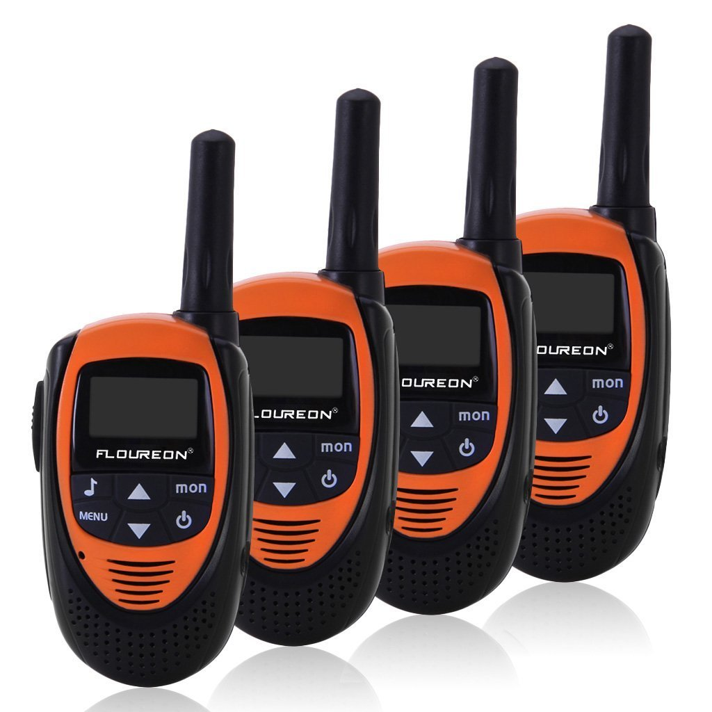Floureon 4 Packs 22 Channel Walkie Talkies Two Way Radios 3000M (MAX 5000M open field) UHF lLong Range Handheld (Black/Red)