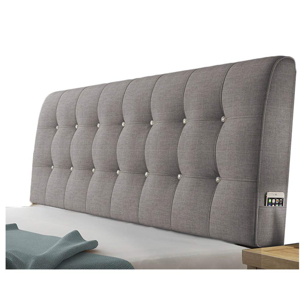 WENZHE Upholstered Headboard Bedside Cushion Pads Cover Bed Wedges Backrest Waist Pad Flax Soft Case Home Hotel Backrest Washable, 5 Colors (Color : B-Gray, Size : 90x58x10cm)