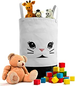 Fawn Hill Co Bunny Laundry Hamper Basket for Baby Nursery or Toddler Room | Collapsable Storage Tote Organizer with Durable Handles for Clothes, Kids Toys, Dirty Laundry | Modern Decor (Black & White)