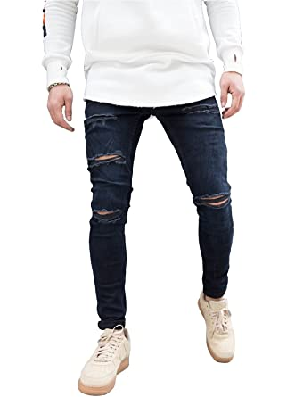 0362cb3a3f3 Sarriben Men's Distressed Skinny Slim Fit Levels Ripped Destroyed Jeans  Dark Blue at Amazon Men's Clothing store: