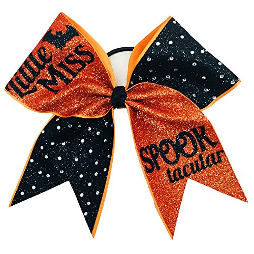 Halloween Little Miss Spook-tacular Glitter Rhinestone Bow Costume Bow -