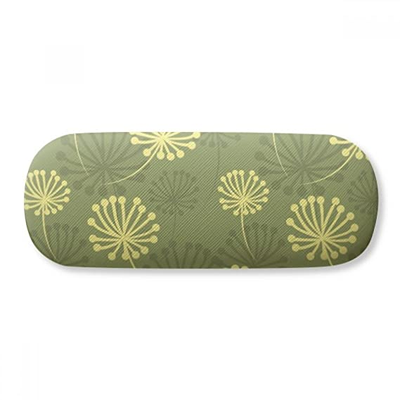 Green Yellow Dandelion Decorative Pattern Glasses Case Eyeglasses Clam Shell Holder Storage Box
