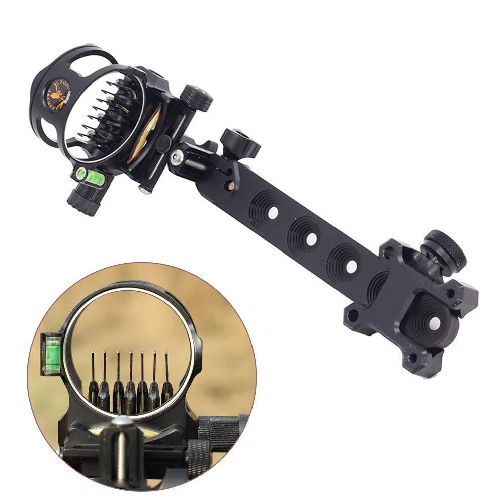 ZSHJG Archery Bow Sight 7 Pin 0.019 Optical Fiber Retinal Sight CNC Aluminum Horizontal Vertical Adjustment for Compound Bow Sight Accessory (7 pins Long Black) by ZSHJG