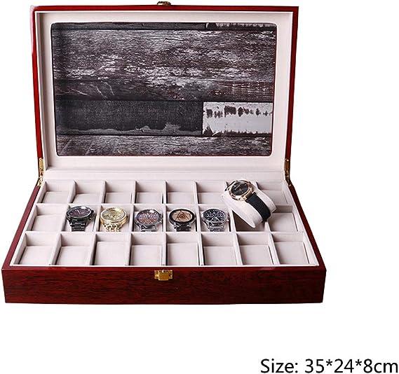 J.Mmiyi Cuero Caja Caja de Almacenamiento para 24 de Relojes ...