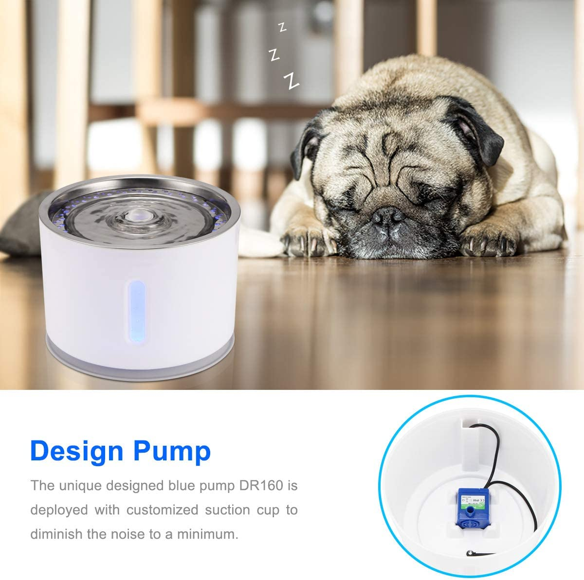 Automatic Cat Dog Dispenser Support 3 Water Flow Modes Mute Activated Carbon with Stainless Steel Top Lid /& USB Cable ALLOMN Pet Water Fountain Dispenser Silver 2.4L