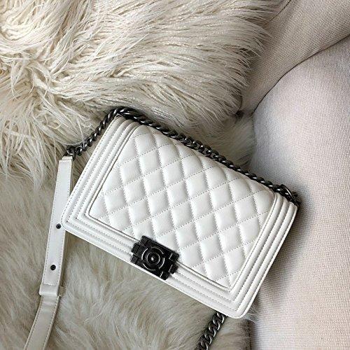 25cm Flip Sac Vent Diamond la Petit Le marée chaînes white ZHANGJIA Mode Sac Sac la l'épaule à chaînes T1qw1P4