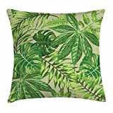 Ambesonne Green Leaf Throw Pillow Cushion Cover, Exotic Pattern with Tropical Leaves Fresh Jungle Aloha Hawaii, Decorative Square Accent Pillow Case, 24 X 24 Inches, Fern Green Apple Green Beige