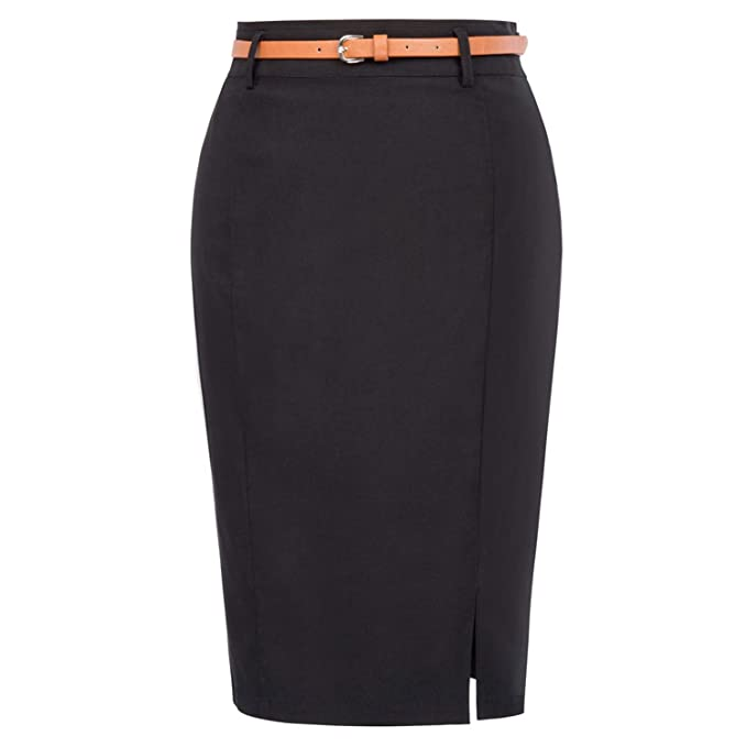b3270ba87 Tellusa Women Skirts Sexy Business Work Office Skirt with Belt High ...