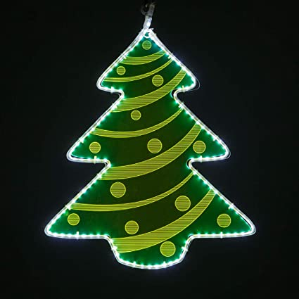 Laser Etched Acrylic Clear Christmas Decorations, Lit Window Decorations  Christmas Light Decorations Indoor,Outdoor (22\