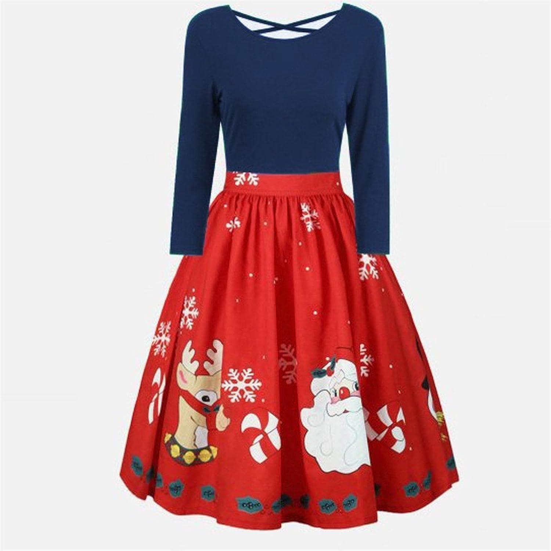 Bekleidung Vovotrade Weihnachten Kleid Damen Ärmellos Rockabilly ...