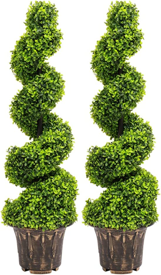 Artificial Topiary Swirl Trees Boxwood Spiral Trees Plant 3t/90cm High for Garden Indoors Outdoor